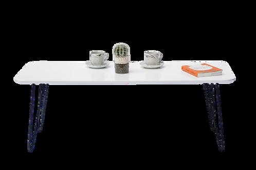 שולחן לבן מלבן רגל ברזל