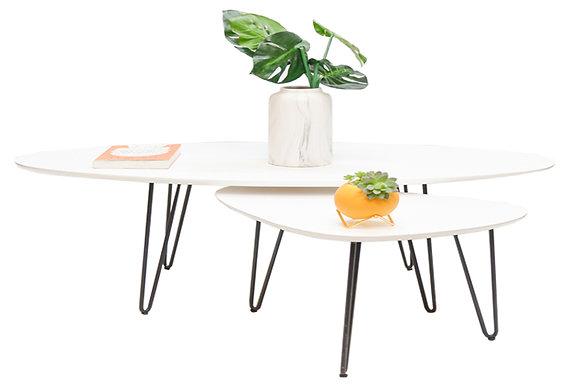 שולחן אובלי לבן +טיפה קטנה