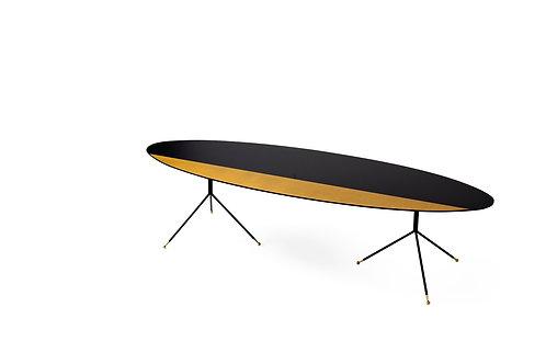 שולחן אובלי שחור צהוב