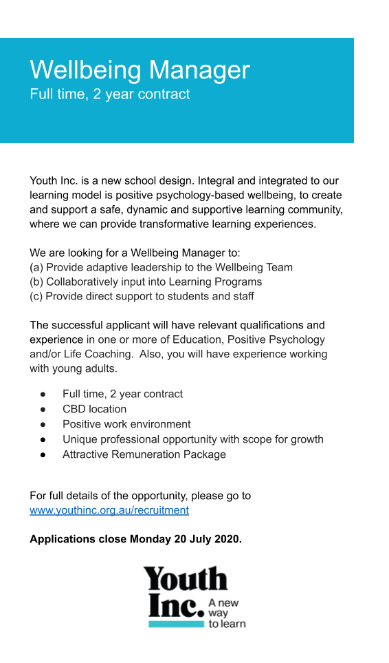 Youth Inc. PRINT_WV_ Wellbeing Team Mana