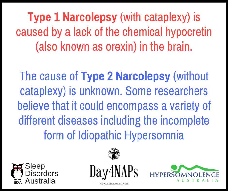 Difference between Narcolepsy Type 1 and Type 2