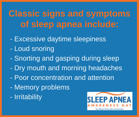 Classic signs and symptoms of sleep apnea