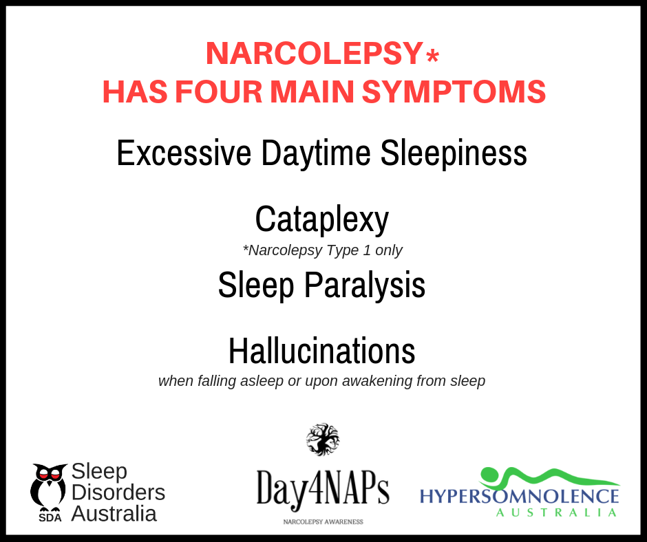 4 main symptoms of narcolepsy