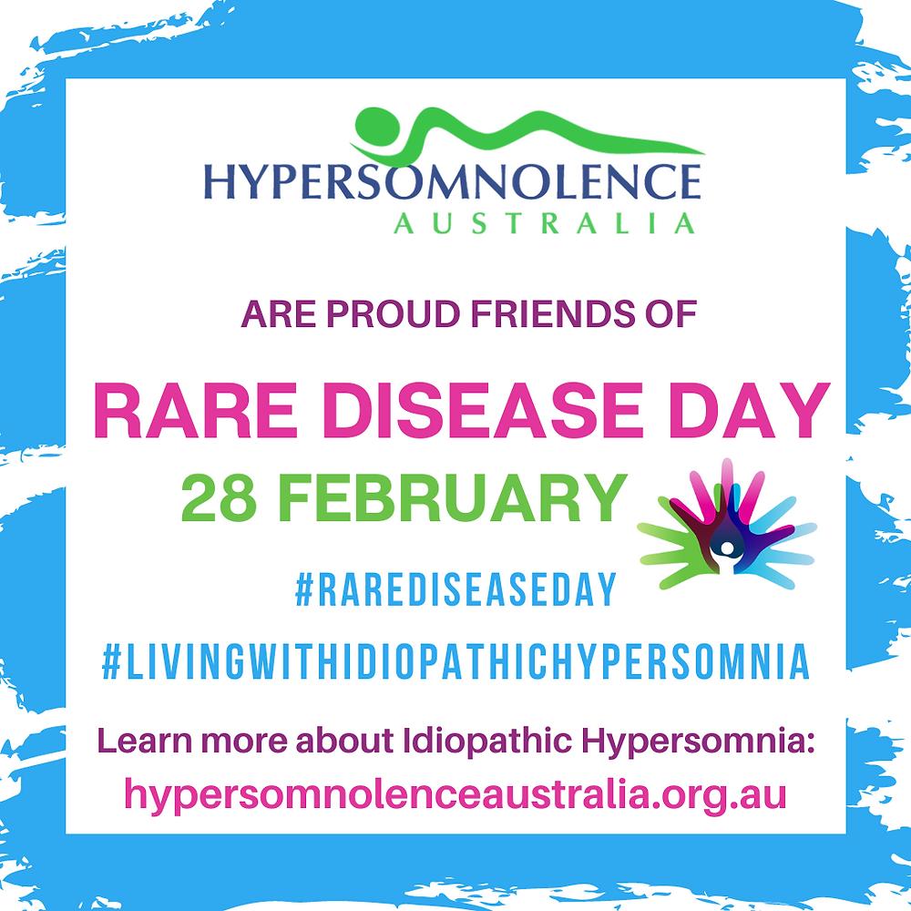 Hypersomnolence Australia. Idiopathic Hypersomnia. Rare Disease Day.
