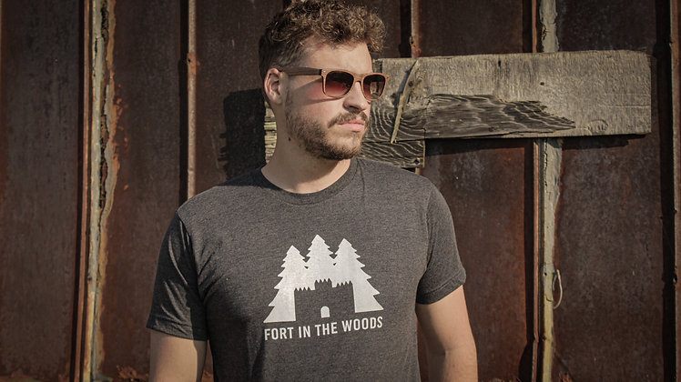 Fort In The Woods T-Shirt | Heather Grey / White