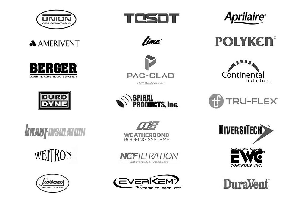 List of company logos of Raymond supply company suppliers.  Companies listed include Union Corrugating company, Tosot, aprilaire, amerivent PAC-cloud, continential industries, Duro Dyne, Spiral Products, INC. Tru-flex, Knauf insulation, weatherbond roofing systems, diversitech, Weitron, NCFiltration, EWC controls inc, Southwark, Everkem, Duravent.