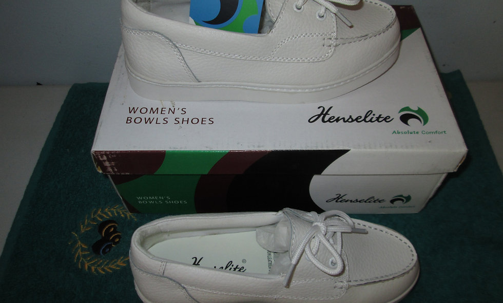 Henselite Julie White Bowls Shoes - Size 3