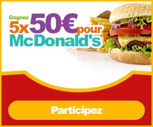 Gagnez 10x50€ pour McDonalds