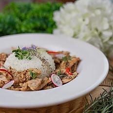 F7. Garlic Pork over rice