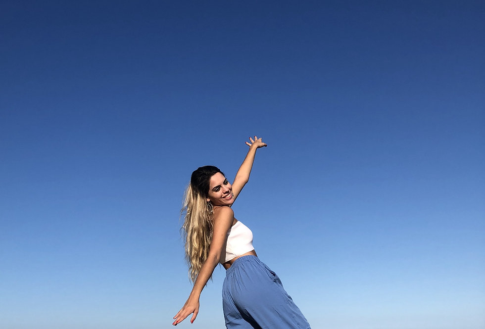 Calça Pantalona Praia da Barra - Azul Clara -Médio