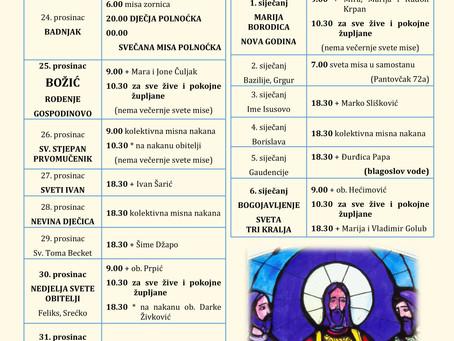 Raspored sv. Misa