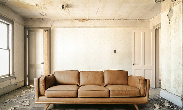 Composite Product Photograph of Sofa in abandoned building.