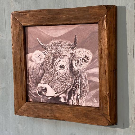 Bildnr. KD-028 Kuh mit Glocke und Rahmen antik