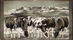 Auftragsmalerei Sechs Kühe auf der Weid