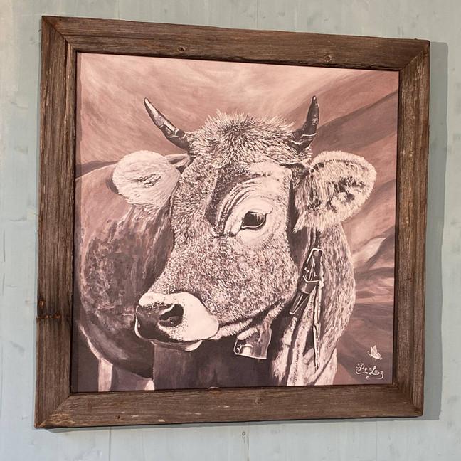 Bildnr. KD-021 Kuh mit Glocke mit Rahmen antik