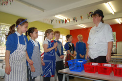 Mrs Young the School Cook chats about the importance washing your hands and not