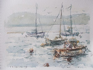 Early Morning Boats, Teign Estuary, Devon