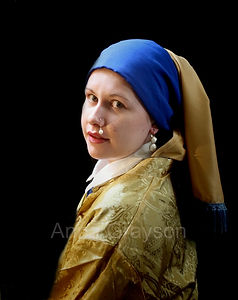 Girl with a Pearl Nosering after Vermeer