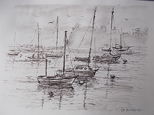 Boats at Teign Estuary, Devon
