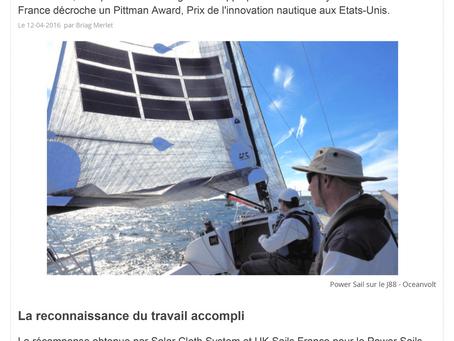 PowerSails : La voile solaire française prix de l'innovation aux USA