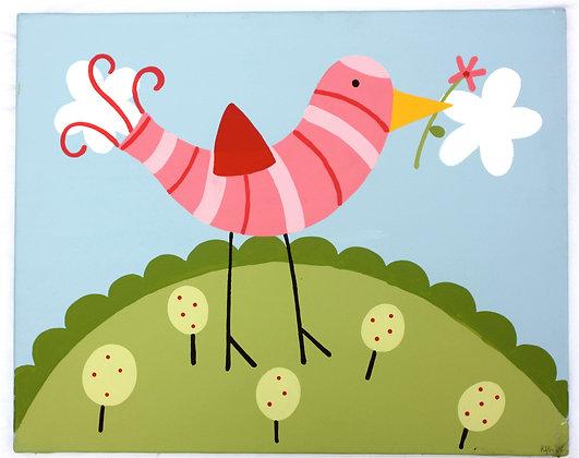 bird with flower 16x20