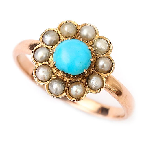 Edwardian 18 Karat Rose Gold Turquoise and Pearl Cluster Ring