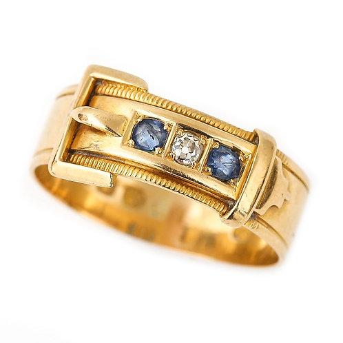 Edwardian 18 Karat Yellow Gold Sapphire & Diamond Buckle Ring c.1905