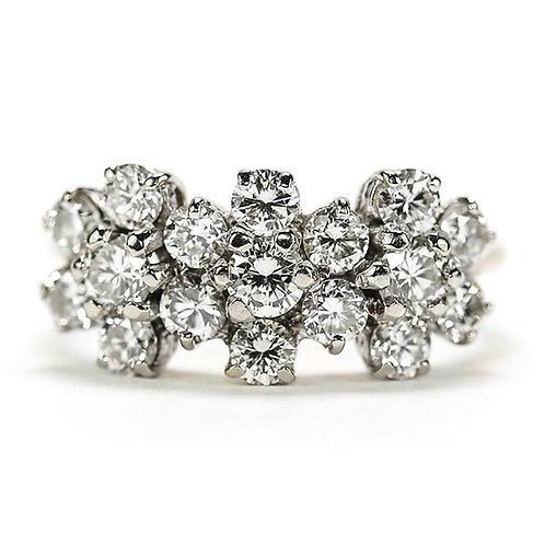 18ct Triple Daisy Flower Cluster Diamond Est.1.20 Carat Ring