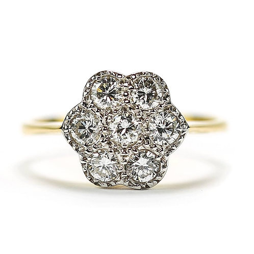 18ct Gold Diamond Est. 0.75 Carat Petal Cluster Victorian Style Ring
