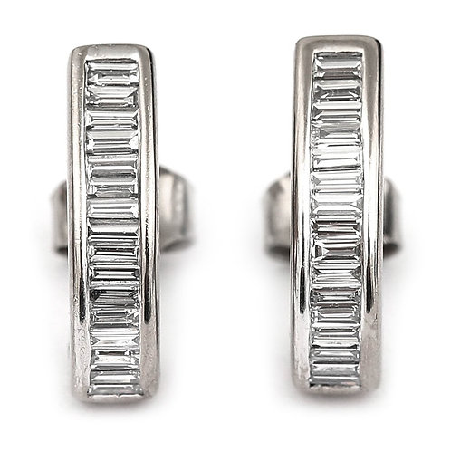 1.60 Carat Diamond Baguette Earrings in 18k 18ct White Gold, G-H Colour, VS1-VS2