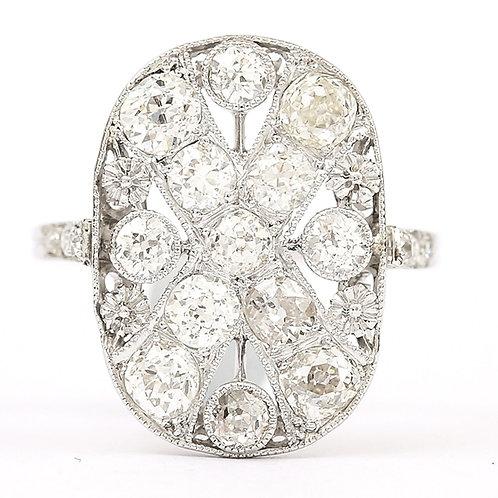 Platinum Art Deco Diamond 1.75 Carat Flat Plaque Dress Ring 1920s