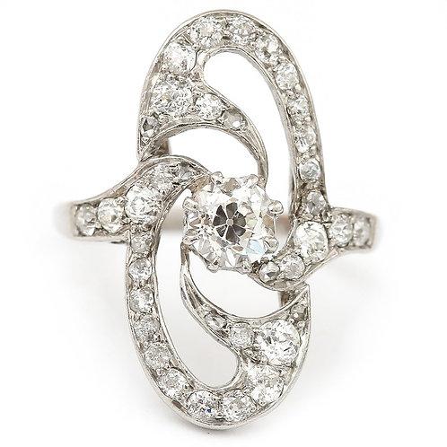 Platinum Art Deco Diamond Cocktail Ring OEC 0.57ct Centre, circa 1925