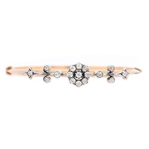 Victorian 1.30ct Diamond 'Daisy' Bangle Bracelet 15 Karat Yellow Gold Circa 1890