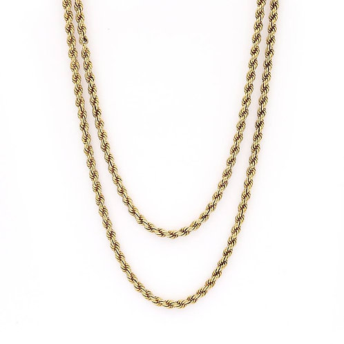 Victorian 15ct Yellow Gold Rope Muff Guard Chain