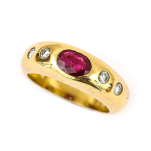 Cartier Style 18 Karat Yellow Gold Ruby and Diamond Gypsy Set Ring