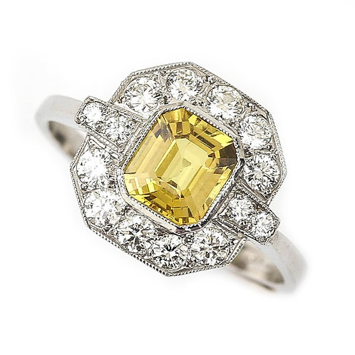 Platinum Yellow Sapphire and Diamond Cluster Ring