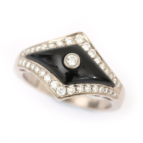 Art Deco Style 0.35ct Diamond and Onyx 18 Karat White Gold Ring