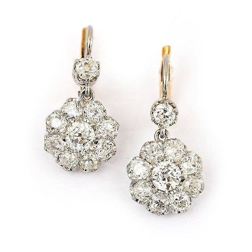18ct Victorian Old European Cut Diamond Est. 4.20 Carat Cluster Earrings
