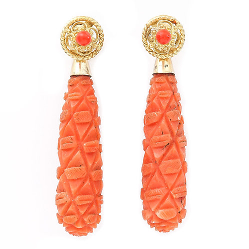 Victorian 18 Karat Gold Carved Coral Torpedo Drop Earrings, circa 1890