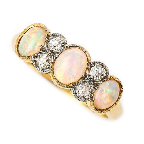 Edwardian 18k Bi-Color Gold Precious Opal and Diamond 7-Stone Ring circa 1900