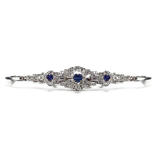 Cropp And Farr 18 Karat White Gold Sapphire and Diamond Bracelet 1960s