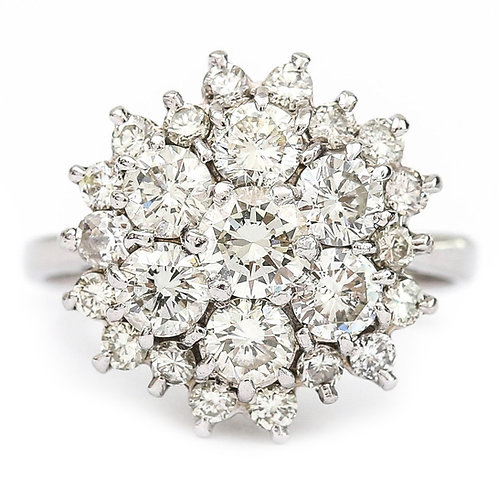 18 Karat White Gold 2.40 Carat Diamond Cocktail Cluster Ring, I/J Color, VS1