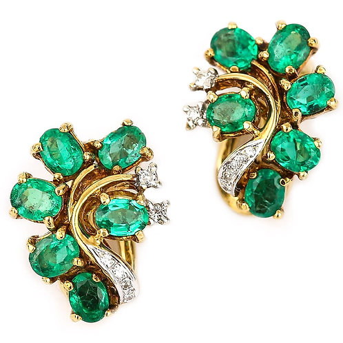 Spanish 18 Karat Yellow Gold 2.40ct Emerald and Diamond Vintage Cluster Earrings
