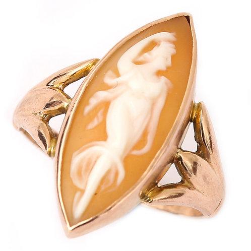 9 Karat Rose Gold Navette Cameo Ring Depicting Venus, Circa Early 20th Century