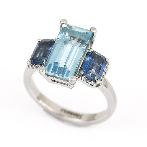 3.20 Carat Aquamarine, Blue Sapphire and Diamond Trilogy Ring