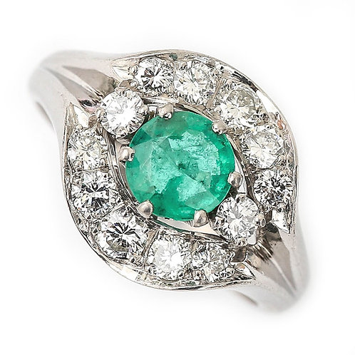 Emerald and Diamond Cluster Ring 18 Karat White Gold