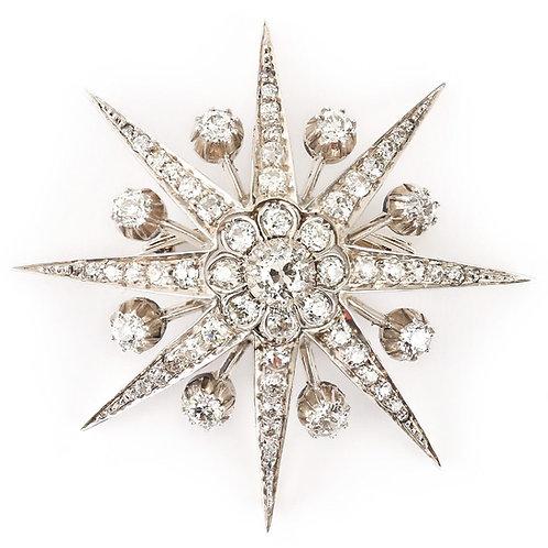 Large Victorian 5.70 Carat Diamond Star Brooch and Pendant, circa 1880