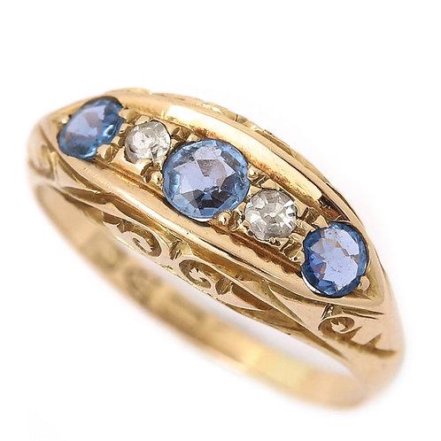Edwardian 18ct Yellow Gold Sapphire and Diamond Five Stone Gypsy Ring Circa 1917
