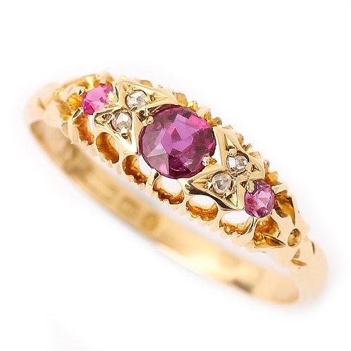 Late Victorian 18 Karat Gold Ruby and Diamond Gypsy Ring, Circa 1897, Birmingham