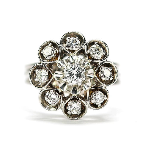 18ct White Gold Diamond Est. 0.80 Carat 'Floral' Cluster Dome Ring 1960s